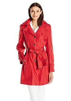 Calvin Klein Women's Single Breasted Trench Coat, Crimson, Medium