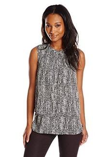 Calvin Klein Women's S/L Printed Double Layer Top, Blk/Wht Cksp, Medium
