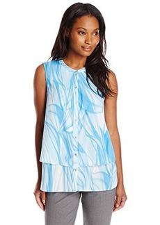 Calvin Klein Women's S/L Printed Double Layer Top, Slvr Lke/Wt Multi Cksp, X-Large