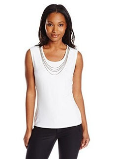Calvin Klein Women's S/L Top with Chain Necklace, Soft White, Large