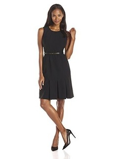 Calvin Klein Women's Sleeveless Belted Dress, Black, 2