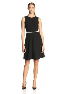 Calvin Klein Women's Sleeveless Belted Flare Dress
