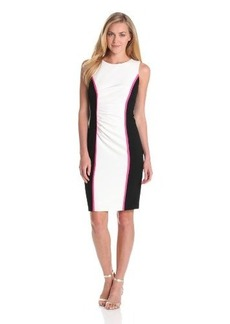 Calvin Klein Women's Sleeveless Color-Block Dress With Piping