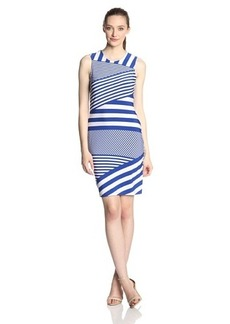 Calvin Klein Women's Sleeveless Diaganol-Striped Dress