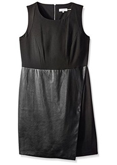Calvin Klein Women's Sleeveless Dress with Faux Leather Flap, Black, 6