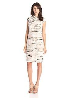 Calvin Klein Women's Sleeveless Dress with High Neck, Latte/Petal Multi CKSP, Large