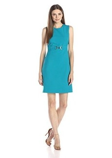 Calvin Klein Women's Sleeveless Embellished Waist Sheath Dress, Lagoon, 4