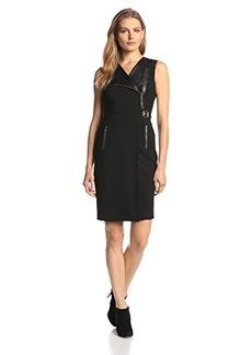 Calvin Klein Women's Sleeveless Leather and Zipper-Detail Dress