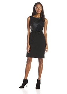 Calvin Klein Women's Sleeveless Leather Panel Faux Suede Belted Dress, Black, 12