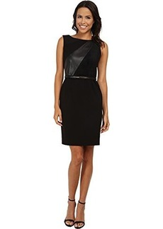 Calvin Klein Women's Sleeveless Leather Panel Faux Suede Belted Dress, Black, 14