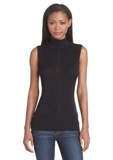 Calvin Klein Women's Sleeveless Pointelle T-Neck Sweater