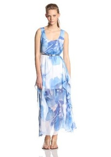 Calvin Klein Women's Sleeveless Printed-Chiffon Maxi Dress