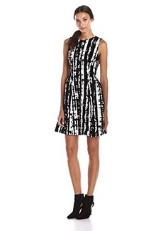 Calvin Klein Women's Sleeveless Printed Velvet Fit and Flare Dress, Black/Eggshell, 4