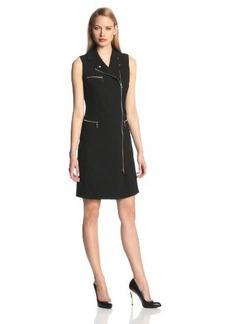 Calvin Klein Women's Sleeveless Side Zipper Shirt Dress