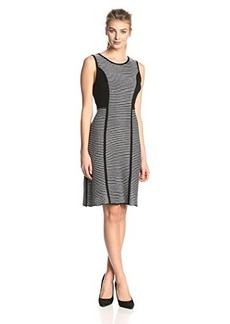 Calvin Klein Women's Sleeveless Striped Sweater Dress,Black,Medium