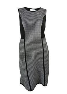 Calvin Klein Women's Sleeveless Striped Sweater Dress,Black,Small