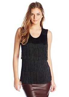 Calvin Klein Women's Sleeveless Top with Fringe Front, Black, Large