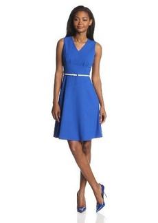 Calvin Klein Women's Sleeveless V-Neck Belted Dress