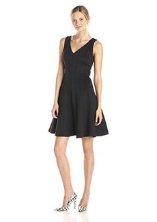 Calvin Klein Women's Sleeveless V-Neck Fit and Flare Dress, Black, 10