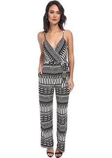 Calvin Klein Women's Sleeveless V-Neck Printed Jumpsuit, Black Cream, 10