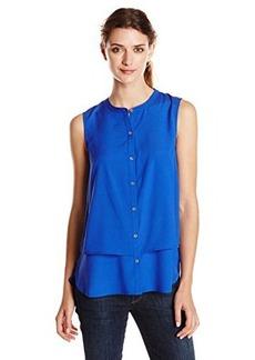 Calvin Klein Women's SleevelessDouble Layer Top, Celestial, Small