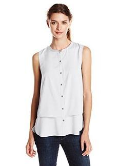 Calvin Klein Women's SleevelessDouble Layer Top, Soft White, Medium