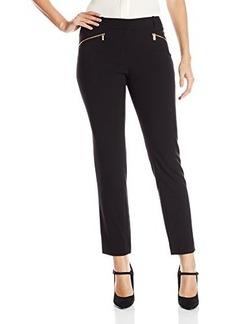 Calvin Klein Women's Slim Suiting Pant with Zipper, Black, 2
