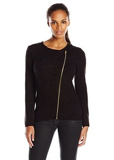 Calvin Klein Women's Slub Sweater Jacket, Black, Small
