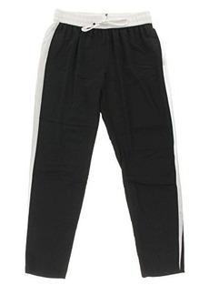 Calvin Klein Women's Soft Pant with White Trim, Black, Medium