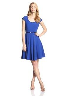 Calvin Klein Women's Solid Cap Sleeve Belted Flare Dress