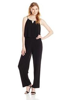 Calvin Klein Women's Solid Double Layer Jumpsuit, Black, 12