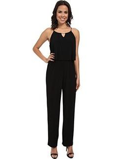 Calvin Klein Women's Solid Double Layer Jumpsuit, Black, 16