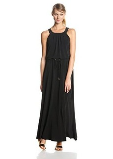 Calvin Klein Women's Solid Maxi Dress with Studded Circle Collar