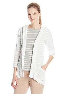 Calvin Klein Women's Solid Striped Sweater Flyaway, Soft White, X-Large