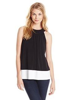 Calvin Klein Women's Solid Trapunto Halter Top, Black, Small
