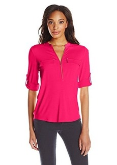 Calvin Klein Women's Solid Zip Front Roll Sleeve Blouse