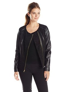 Calvin Klein Women's Space Dye Moto Jacket, Black, Large