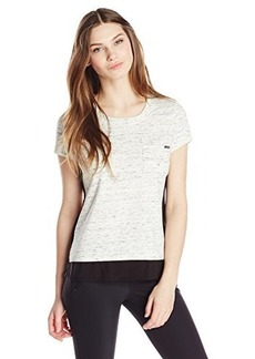 Calvin Klein Women's Spacedye Top with Trim, Soft White, Medium