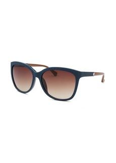 Calvin Klein Women's Square Dark Blue Reptile Print Sunglasses