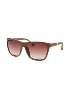 Calvin Klein Women's Square Light Brown Reptile Print Sunglasses