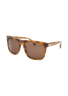 Calvin Klein Women's Square Striped Light Brown Sunglasses