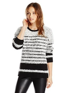 Calvin Klein Women's Striped Eyelash Pullover, Black/White, X-Large