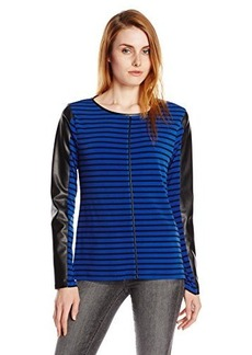 Calvin Klein Women's Striped Top with Faux Leather Detail