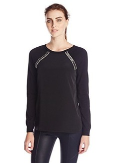 Calvin Klein Women's Sweater with Shoulder Jewels, Black, Small