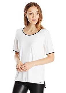 Calvin Klein Women's Tee with Faux Leather Trim, Soft White, X-Small