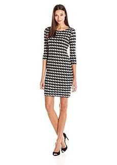 Calvin Klein Women's Textured 3/4 Sleeve Sheath, Off White/Multi, 14