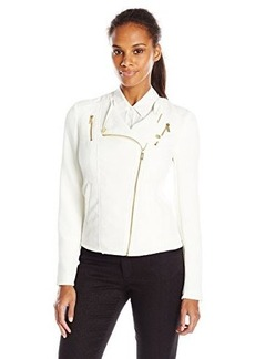 Calvin Klein Women's Textured Moto Jacket, Soft White, Large