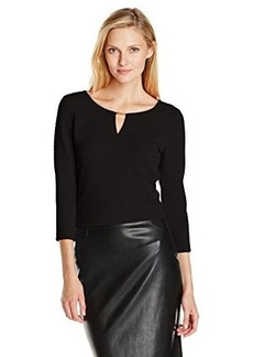 Calvin Klein Women's Textured Top with Hardware, Black, Small