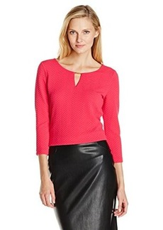 Calvin Klein Women's Textured Top with Hardware, Winter Rose, Small