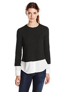 Calvin Klein Women's Thermal Top with Shirting, Black, X-Large
